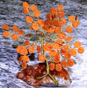 Arbre en calcite orange